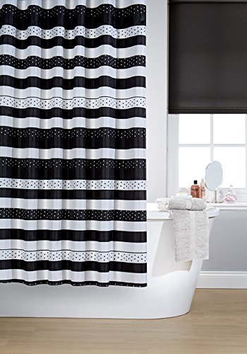 vibrant-jet-black-and-white-polyester-shower-curtain-including-12-black-shower-curtain-rings-by-wate