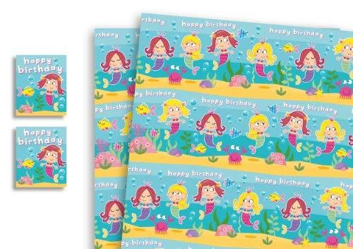 Meerjungfrau-bogen (PaperGekko Geschenkpapier für Kinder, Meerjungfrau-Motiv, 2 Bögen, 2 Geschenkanhänger)