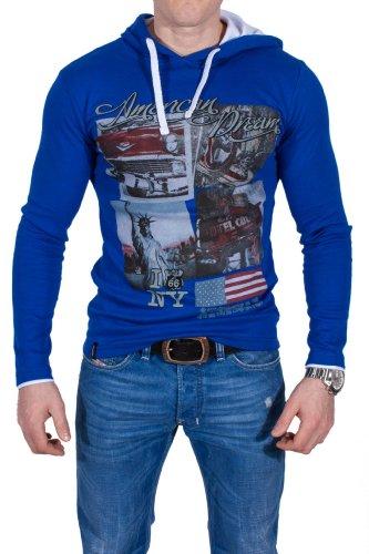 Pull à capuche à manches longues motif uSA bleu - Bleu - Large