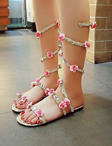 LFNLYX Chaussures Femme-Habillé-Rose / Argent / Or-Talon Plat-Bout Ouvert-Sandales-Similicuir Pink