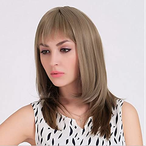 Meydlee Parrucche Tempo libero/Casual spalla lunghezza capelli lisci parrucca per le donne con frangia di aria pulita , picture color