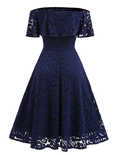 iBaste Vintage Vestito Elegante Primavera Donna Pizzo Fuori Dalla Spalla Retro Abito Blu