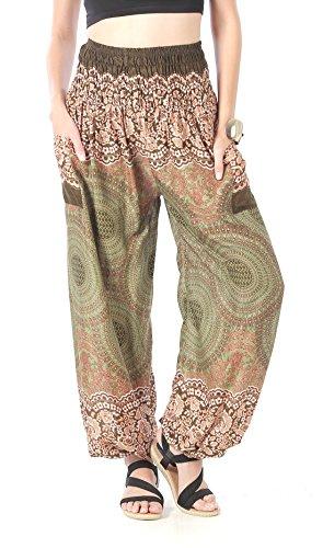 CandyHusky Haremshosen für Frauen Aladin im Hippy, Bohemian, Zigeunerstil für den Sommer am Strand oder als Yogahosen, Einheitsgröße Blumen Mandala Olive