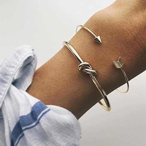 n 2) handgefertigt Sommer Einzigartige Pfeil Twist Knoten Gold Armband Armreifen Hand, Kette Geschenk für sie, einfach verstellbar Party Hand Zubehör, täglich Armband, Geburtstag Geschenk der Mädchen (Grüner Pfeil Anzug)