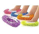 Pantuflas abrillantadores de mopa de microfibra, unisex, paño para cubrir el calzado, para limpiar con efecto mopa que frota, para limpiar el baño, oficina, la cocina, suelos, parquet, azulejos, cerámica, absorbe el polvo, color aleatorio