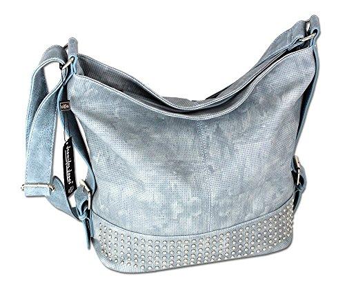Damen Schultertasche Handtasche XL Umhängetasche 3122 (Eisblau)