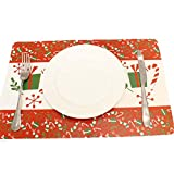 Souarts Set de Table Noël Placemat Napperon pour Decoration Table Santa Claus Christmas 12PCS