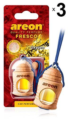 Areon Fresco Auto Parfüm Sauerstoff Autoduft Hängend Glas Flasche Duftflakon Holz Flakon Blau Lufterfrischer Set Aufhängen Anhänger Spiegel Geruch Erfrischer 4ml 3D ( Oxygen Pack x 3 )