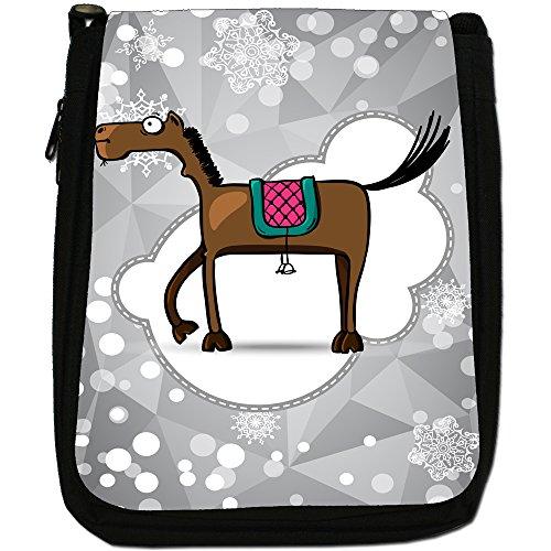 Holiday a forma di fiocco di neve di stagione media-Borsa a tracolla in tela, colore: nero, taglia: M Nero (Brown Horse With Long Legs)