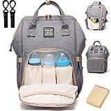 Baby Wickelrucksack Wickeltasche mit Wickelunterlage Multifunktional Segeltuch Große Kapazität Babytasche Kein Formaldehyd Reisetasche für Unterwegs(Grau)