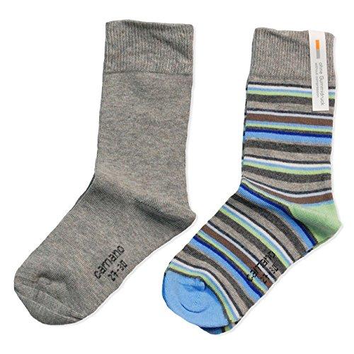 4 Paar CAMANO Mädchen oder Jungen Socken Strümpfe, 2x2er Pack, Socken, Stripes, taupe blau, CA 3778, Größe:35-38-4er Pack