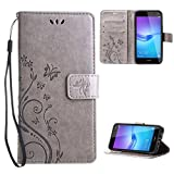 "Leathlux Wallet Cover Per Huawei Nova Young, Custodia Per Huawei Y6 2017 - Retro Flowers Design Pattern Custodia In Pelle Con Wallet Case Cover Per Huawei Y6 2017 / Huawei Nova Young 5.0"" Grigio"