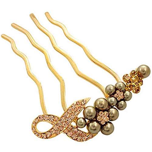 Peigne mariée accessoires de cheveux classique, doré(perle)