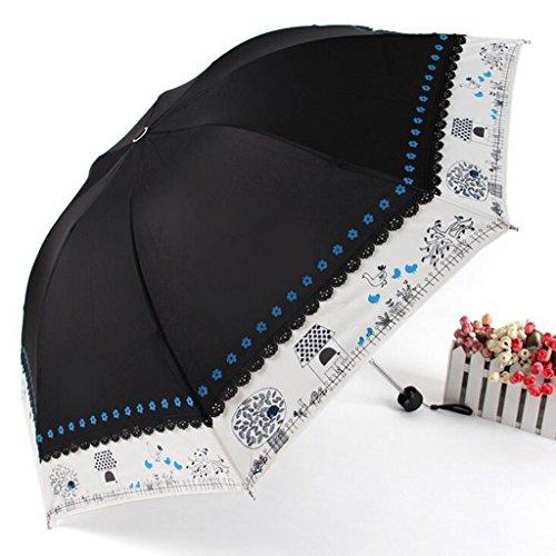 GTWP GT Regenschirm Manual Mode 3 Folding Umbrella kreativ, Blumenanordnung, das Spleißen Stockschirm Robuste winddicht Anti-UV-Sonnenschutz Dach