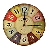 Relojes De Pared 12 Pulgadas Vintage Colorido Francia París País Estilo Toscano Números Árabes Diseño Silencioso Silencioso Salón De Los Deportes Dormitorio Decoración Del Hogar Oficina Hotel Bar