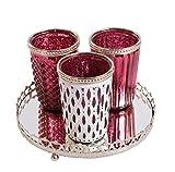 3er Windlichtset Teelichtglas mit Spiegelplatte Teelichthalter Kerzenglas Windlicht Glas Kerzentablett (Lila) Antik