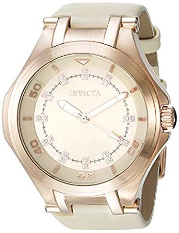 INVICTA WOMEN'S WILDFLOWER BEIGE LEATHER BAND STEEL CASE QUARTZ WATCH 21761