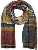 styleBREAKER bunter Schal kariert mit Fischgrät Muster und Fransen, Winter Strickschal, Unisex 01018144, Farbe:Blau-Bunt