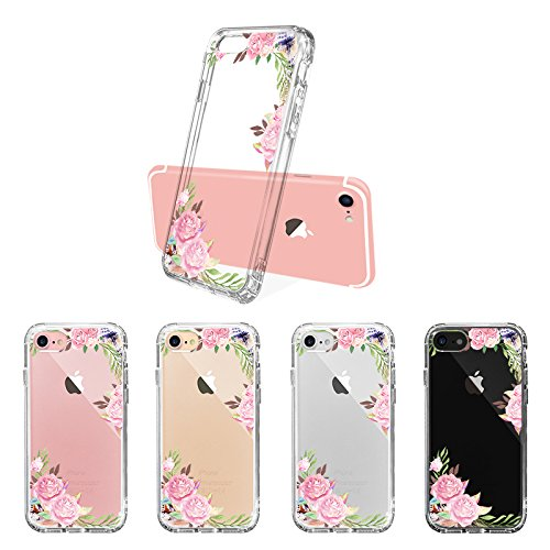 iPhone 8 Hülle, iPhone 7 Hülle, MOSNOVO Tropisch Palmblatt Muster TPU Bumper mit Hart Plastik Hülle Durchsichtig Schutzhülle Transparent für iPhone 7 (2016) / iPhone 8 (2017), iPhone 7 / 8 Case Feathers and Roses