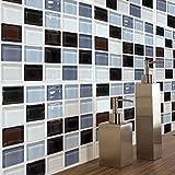 MOSU Vinilo Azulejos De Gel, Adhesivos para Azulejos Pegatina De Pared Mosaico Impermeable Pared Palo La Cocina Backsplash Cuarto De Baño Apliques 6set De-20x20cm(8x8inch)