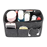 APSOONSELL Women's Handbag Tidy Organiser, Handbag Liner Felt, Travel Cosmetic Bag Insert 12 Pockets - Grey - Medium