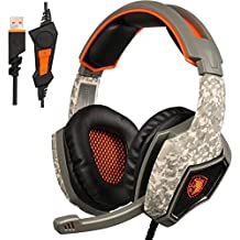 [2016 nuova versione di rilascio] Sades SA 917 USB Stereo Gaming Headset, Wired Over-Ear PC MAC cuffie con microfono Revolution controllo del volume Isolamento acustico LED Light