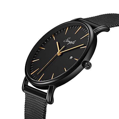 SONGDU Herren Unisex Ultra dünn Analog Quarz Schwarz Minimalistisch Armbanduhr mit Mode Datum und Edelstahl Milanese Mesh Band (Schwarz - Gold)