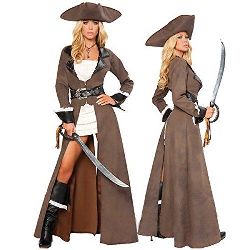 Nihiug Halloween Kostüm Party Rolle Spielen Luxus Sexy Piraten Kleidung Kapitän Reitanzug Vorbereiten Für Mädchen Subdue Temptation Schlafzimmer,A (Gut 11 Jahre Alte Halloween Kostüm)