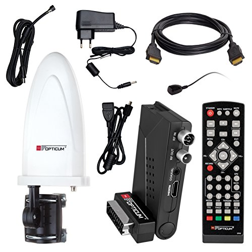 HB Digital DVB-T/T2 Set: Opticum HD AX Lion Air 2 HEVC DVB-T/T2 Receiver + Opticum HD750 DVB-T/T2, FM, DAB Aktive Antenne (Full HD, HEVC/H.265, HDTV, HDMI, SCART, USB 2.0 DVBT DVBT2 DVB-T2)
