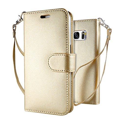 Leathlux Galaxy S7 Hülle Gold , Reine Farbe Premium PU Leder Schutzhülle Bookstyle Tasche Schale TPU Case mit Trageschlaufe Standfunktion Cover für Samsung Galaxy S7 G930F 5.1