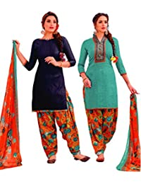 EasyToShop Retail Women's Cotton Printed Salwar Suits Unstiched Dress Materials (Combo Pack Of 2) _AMVRRR001_Emerald...