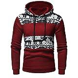 FeiBeauty Herren Basic Kapuzenpullover Weihnachten Elch Sweatjacke Pullover Hoodie Sweatshirt Retro Patchwork Strickwaren