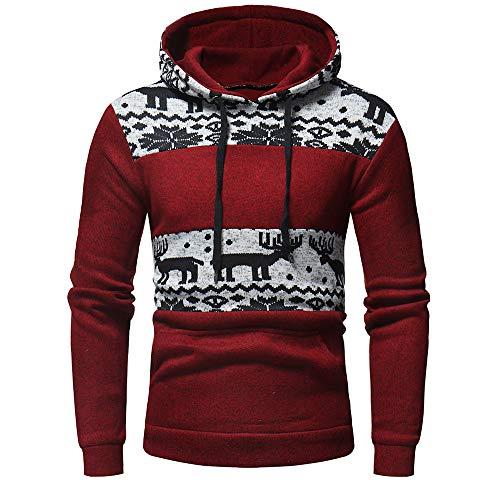 SEWORLD Weihnachten Christmas Herren Männer Herbst Winter Drucken Hoodie mit Kapuze Sweatshirt Weihnachten Tops Jacke Mantel Outwear(Rot,EU-50/CN-L)