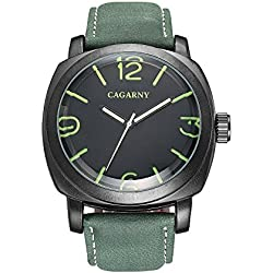 Sheli Mens Military Army Big Square Black Stainless Steel Watch with Green Leather Band