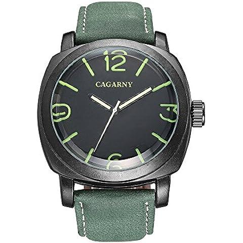 Sheli Mens Militar ejército grande cuadrado negro reloj de acero inoxidable con banda de piel