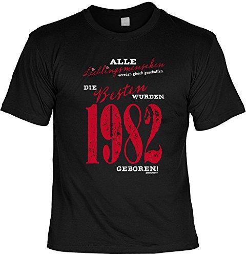 T-Shirt zum Geburtstag: Alle Lieblingsmenschen werden gleich geschaffen. Die Besten wurden 1982.. - Tolle Geschenkidee - Baujahr 1982 - Farbe: schwarz Schwarz