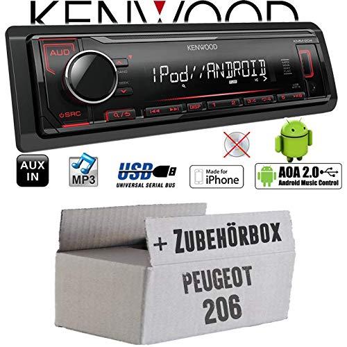 Peugeot 206 - Autoradio Radio Kenwood KMM-204 - MP3   USB   iPhone - Android - Einbauzubehör - Einbauset