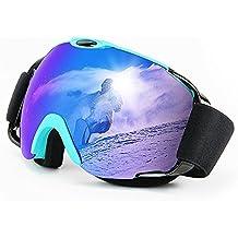 Gafas de esquí, MeeQee Gafas de deporte para hombres y mujeres, Antiniebla 100% Protección UV Gafas de snowboard compatibles para esquí Snowboard y motocicleta, Azul