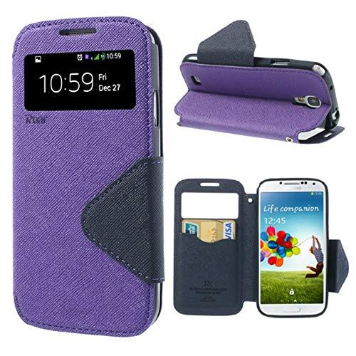NessKa Handyschutz in Perfektion   Handyhülle Für Samsung Galaxy S4   Ultra Slim Premium Flip Cover Handy Tasche Schutz Hülle mit Ständer Silikon Innen Schale Original Roar Fancy Case   Lila (Cover S4 Flip Handy)