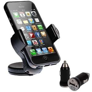 """wortek Universal KFZ Set mit KFZ Halterung bis ca. 5,7"""" Displays mit Kugelgelenk & Saugnapf inkl. KFZ Ladeadapter mit USB Anschluss (z.B. Geeignet für Apple iPhone 5 5S 5C, Samsung Galaxy S5, HTC One 2 M8, Sony Xperia Z2 usw.)"""