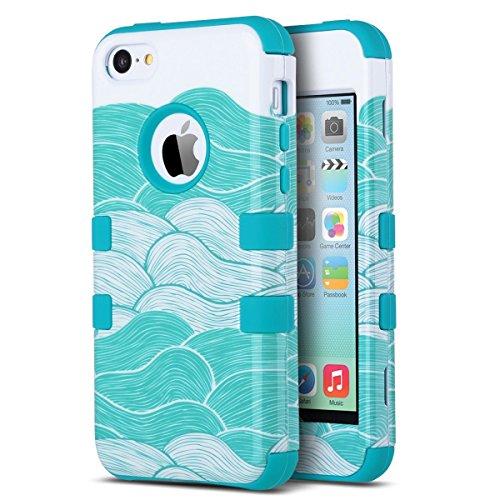 Coque iPhone 5c, ULAK iPhone 5c Case Housse de Protection Anti-choc Matériaux Hybrides en Silicone Souple et PC dur Coque pour Apple iPhone 5c (Bleu Waves)