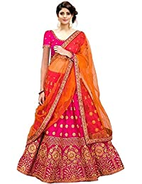 0cf8bd61bc6 Varudi Fashion Women s Embroidered Semi Stitched Lehenga Choli With Blouse  Piece (BB1 FreeSize)