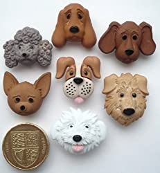 Dogs Faces - Novelty Craft Buttons & Embellishments by Dress It Up by Jesse James
