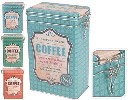 Kaffeedose Vorratsdose Vorratsgefäß mit Bügelverschluss Metall Dose Rot Grün Türkis COFFEE (ROT)
