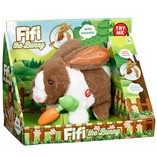 Elegent Fifi the Electronic Soft Bunny Toy Rabbit Sound Kid's - Brown & White