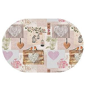 DecoHomeTextil Wachstuchtischdecke Wachstuch Tischdecke Gartentischdecke Rund Oval Flicken Herzen Oval ca. 140 x 180 cm abwaschbare Wachstischdecke