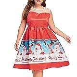 VEMOW Heißer Elegante Damen Cocktailkleid Weihnachten Tag Drucken Floral Sleeveless Vintage Tee Ballkleid Casaul Party Kleid Plus Größe Abendkleid(Rot, EU-44/CN-2XL)