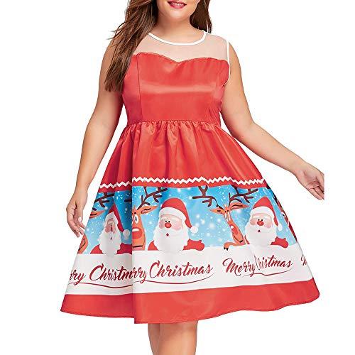 Weihnachtsfeier Kleid,Damen Weihnachten Drucken Blumen Ärmellos Vintage Tee Ballkleid Kleid Plus...