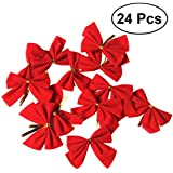24Pcs Ribbon Christmas Decoration Bows Tree Bowknots Festival Party Garden Ornament Brooch Pin Decor (Red)