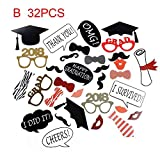 Questquo Class of 2018 DIY Paper Picture Frame Cutouts Photo Booth Props for Graduation Event Party Decoration Color B